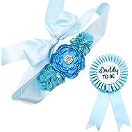 TTCOROCK Sky Blue Maternity Sash & Daddy to be Corsage Set - Baby Shower Sash Baby Boy Pregnancy Sash Keepsake Baby Shower Flower Belly Belt
