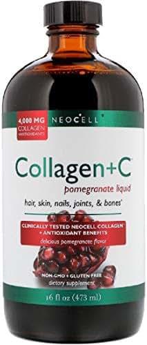BioActive Collagen + C Pomegranate Liquid 4000 mg Collagen + Antioxidants Ionic Minerals Hair Skin Nails Joints Bones 16 fl oz 473 ml