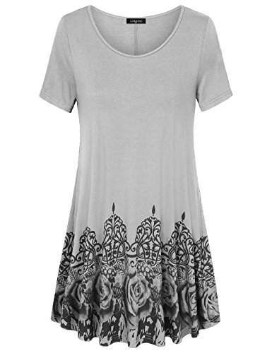 Line Scoop Neck - Laksmi Womens Printed Flow Tunic Shirts, Short Sleeve Scoop Neck A Line Loose Fit Casual Top (XXX-Large, Grey)