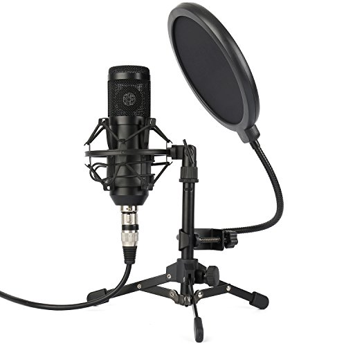 ZINGYOU ZY-801 Professional Studio Microphone, Desktop Computer Cardioid Condenser Mic with Tripod for PC Recording, Broadcasting (Black) Desktop Recording Microphone