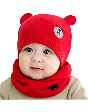 2Pcs/Set Newborn Baby Knitted Hat Scarf Cat Caps Scarves Infant Boys Girls Baby Beanies