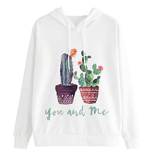 Sttech1 Causal Cactus Print Long Sleeve Sweatshirt Blouse