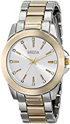 Breda Women's 2389D Rhinestone-Accented Two-Tone Watch