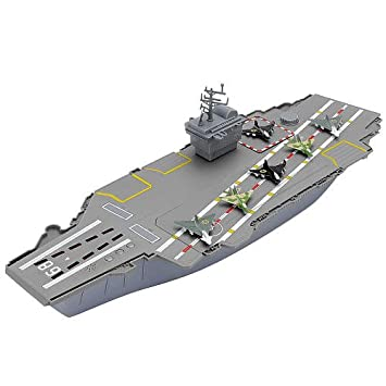 Toygunzone Toy Aircraft Carrier 18 With 6 Fighter Jets 2 Helicopters 3 Sounds Control Tower Storage