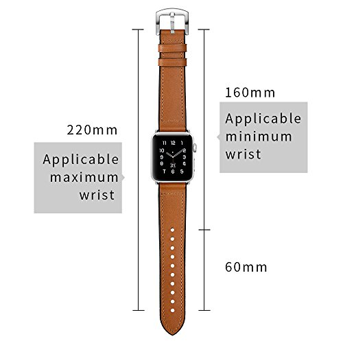 Sweatproof Hybrid Leather Sports Watch Band Vintage Replacement Bands for Apple Watch iwatch Series 123 Dark Brown Replacement Straps with Sliver Stainless Steel Buckle Clasp (42mm, Brown) by WTHSTRAP (Image #3)