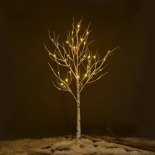 Ecolinear Prelit Birch Tree 48 LEDs Light Silver Twig Warm White White Branches (4 Feet) Home Festival Party Christmas Indoor and Outdoor Use