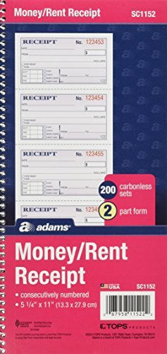 Adams Money and Rent Receipt Book, 2-Part Carbonless, 2.75 x 4.75 Inches, Spiral Bound, 200 Sets/Book, Carton of 25 Books (SC1152) by Adams by Adams