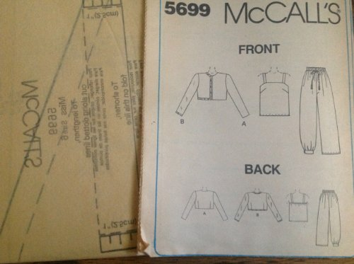 Mccalls Sew Pattern 5699 Misses 6, Haram Ankle Band Pull-on Pants, Camisole with Stripe, Bolero Jacket with Braid Trim Option,