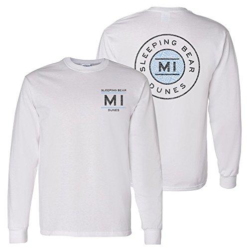 (UGP Campus Apparel Sleeping Bear Dunes Resort Circle Stamp - Michigan Vacation Long Sleeve T Shirt - X-Large - White)