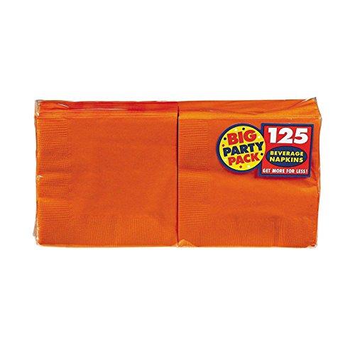 Amscan Big Party Pack 125 Count Beverage Napkins, Orange