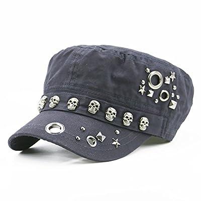 V&A Step Women Girl Fashion Skull Rivet Flat Black Baseball Cap, Casual Sport Hat Snapback