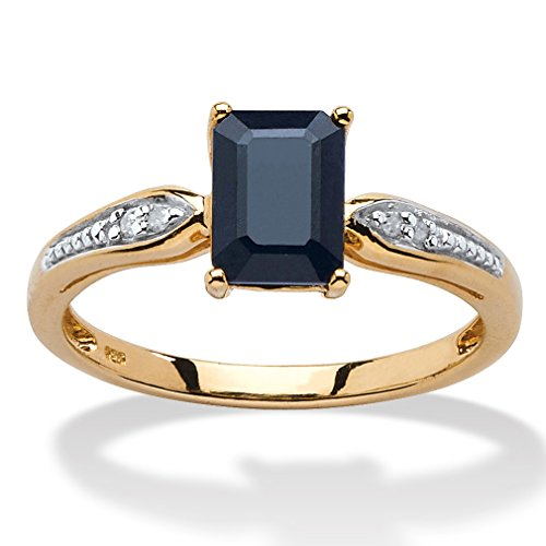 Midnight Blue Sapphire (Emerald-Cut Genuine Midnight Blue Sapphire 18k Gold over .925 Silver Ring Size 8)