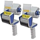 Tape King TX100 Packing Tape Dispenser Gun (2 Pack) - Plus 2 Free Rolls of Packaging Tape - Best Side Loading 2 Inch Lightweight Ergonomic Industrial Gun for Shipping, Moving, Carton and Box Sealing