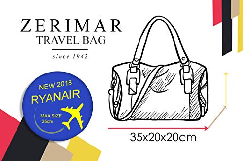In Bagaglio Ryanair beige Zerimar 35x20x20 Da Pelle Valigetta A Borsa Viaggio Nero Cm Mano q87P58