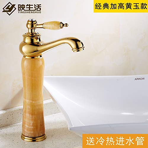 3 LHbox Basin Mixer Tap The High European faucet sink hot and cold Green Jade Marble Sinks Faucets full copper golden Dragon Head Extension, deluxe redation plus high-Wong Yuk)