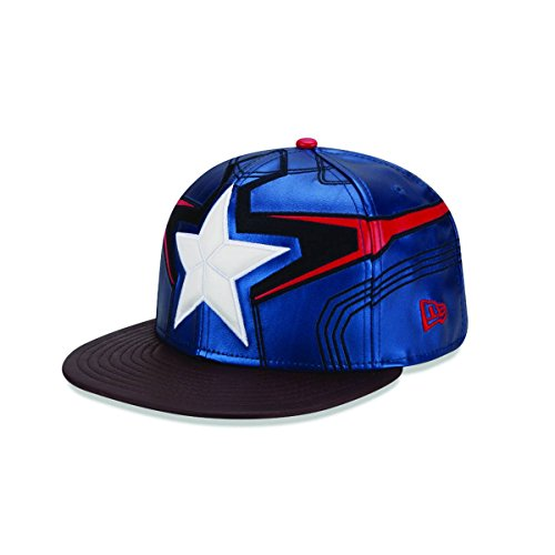 New Era Cap Men's Captain America Character Armor 59Fifty Cap, Blue/Grey, 7 1/8