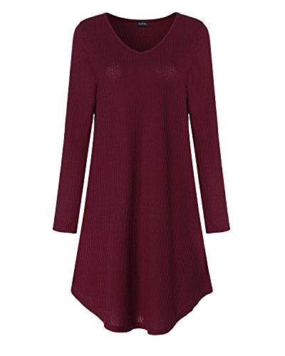 SUNNYME Women's Long Sleeve Mini Dresses Tunic Knitted V-Neck Swing Pullover Tops Wine Red 2XL - Knitted Tunic Dress