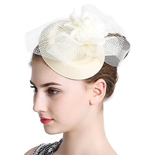 Free Yoka Womens Fascinators Ivory Feather Pillbox Hat Cute Beads for Cocktail Kentucky Derby Ball Wedding Church Party