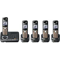 Panasonic KX-TG6445T DECT 6.0 Cordless Phone with Answering System, Metallic Black, 5 Handsets