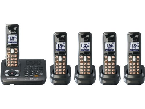 (Panasonic KX-TG6445T DECT 6.0 Cordless Phone with Answering System, Metallic Black, 5 Handsets)