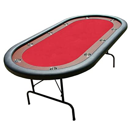 10 Player Casino Poker Game Table With Red Felt, Stainless Steel Cup  Holders,