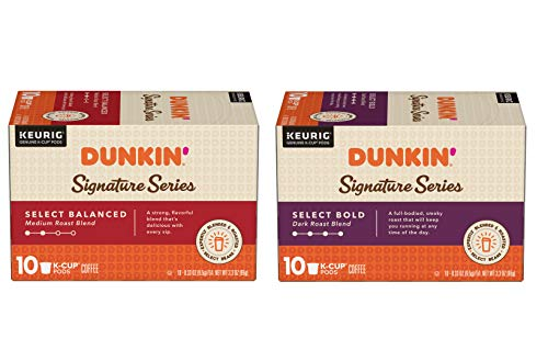 Dunkin' Donuts Donuts Signature Series Variety Pack – Select Bold, Dark Roast, K Cup Pods & Select Balanced, Medium Roast, K Cup Pods, Bold & Balanced, 20Count