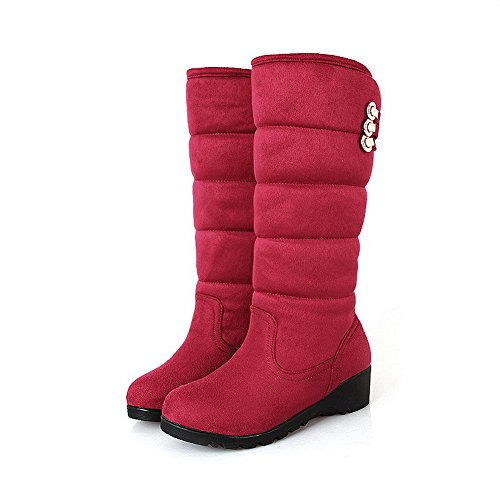 Girls B Low PU Rubber 5 Heels and Red AmoonyFashion Closed Metalornament M with Round Solid Wedge US Boots 5 Toe RgxdTq