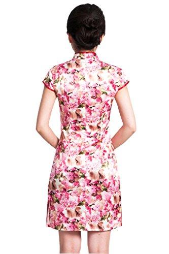 JINFU Women's Slim Fit Cheongsam Cherry blossoms Chinese Dress