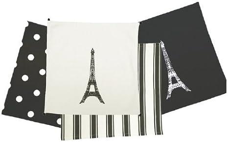 Kiss That Frog Torre Eiffel de París blanco y negro algodón ...