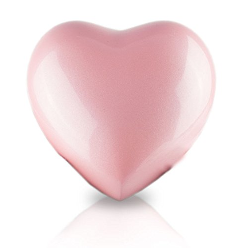 OneWorld Memorials Heart Bronze Keepsake Urns - Extra Small - Holds Up to 5 Cubic Inches of Ashes - Pearl Pink Cremation Urn for Ashes - Engraving Sold Separately
