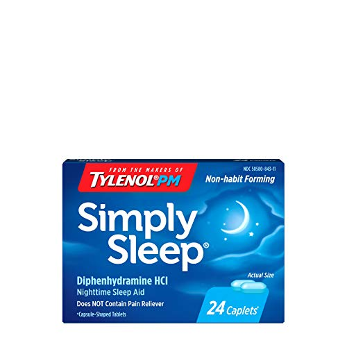 Simply Sleep Nighttime Sleep Aid Caplets with 25 mg Diphenhydramine HCl, Non-Habit Forming, 24 Count, Pack of 3