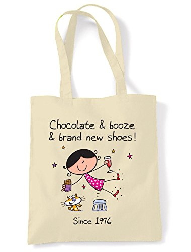 Tote Shoulder Chocolate and Shopping 40th New Shoes Bag Brand Birthday Booze 8q0xqa4gw