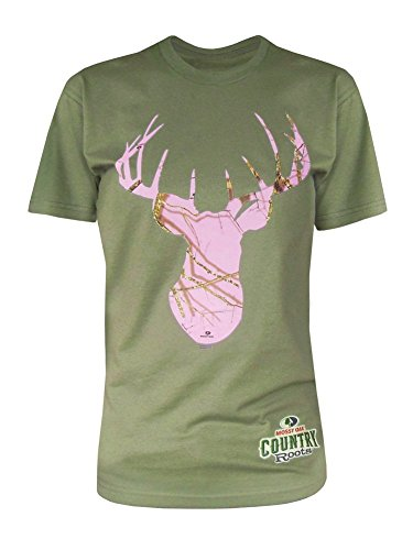 Mossy Oak Women's Unisex Deer Head Country Roots Pink Camo T-Shirt-X-Large Olive