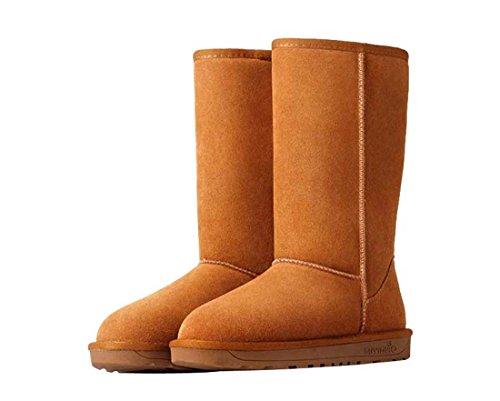 HooH Damen Leder Simple Warm Schneestiefel 5815 Braun