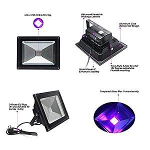 LANFU 2 Pack LED Black Light, High Power 10W LED Flood Light IP65-Waterproof 85V-265V AC for Blacklight Party Supplies, Neon Glow, Glow in The Dark, Fishing, Aquarium, Curing