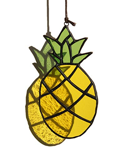 HAOSUM Stained Glass Window Hangings Pineapple Gifts Real Stained Glass Panel Pineapple Suncatchers Hanging Ornament for Wall, Window,Car and Luau Party Decoration, 4.4inch