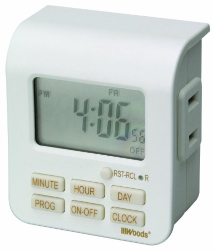 Woods 50008WD Indoor 7-Day Digital Plug-In Timer, 1 Polarized Outlet