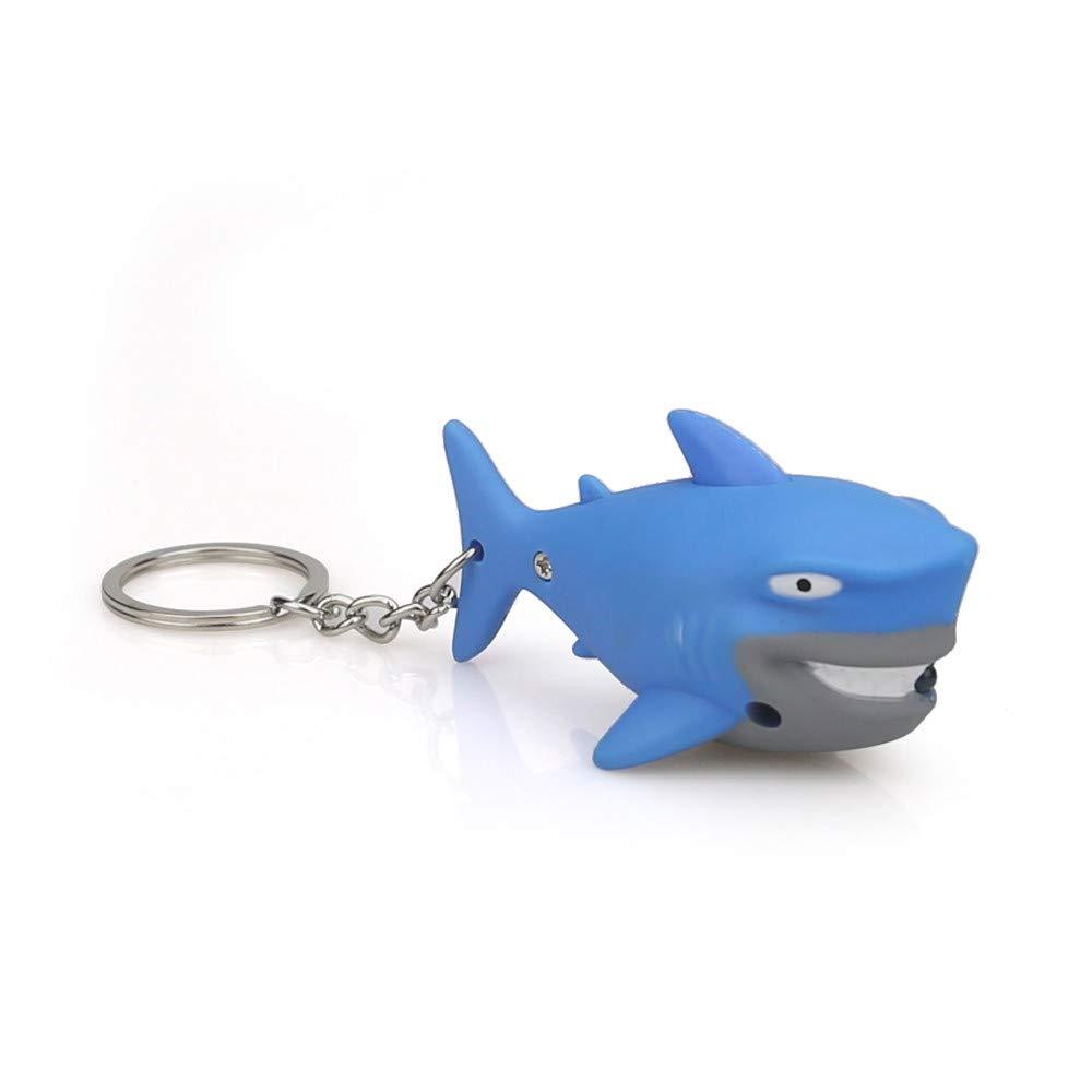 Emerayo Cute Animal Keychain Flashlight Kids Toy Gift with LED Light and Sound Keyfob (Blue Shark, One)