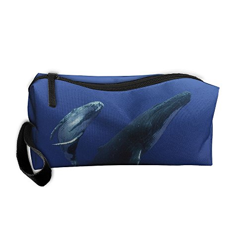 Ocean Humpback Whales Fish Pattern Makeup Bag Calico Girl Women Travel Portable Cosmetic Bag Sewing Kit Stationery Bags Feature Storage Pouch Bag Multi-Function Bag