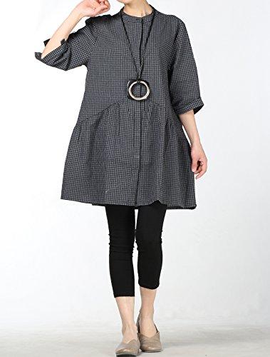 Blouse Noir Vrai Casuel Classique Chemise Tops Tunique Carreaux Femme Robe Mallimoda q7FInwgPx
