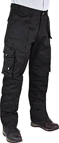 Flap Pocket Trousers - Shelikes News Mens Heavy Duty Workwear Trousers_1356_Blk_L46