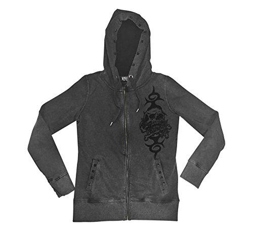 Lethal Threat Women's Hoodie (Skull N Crossbones Vintage Washed Grey Hoodie)(Black, Large), 1 Pack - Crossbones Hoodie