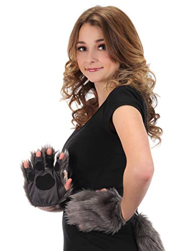 elope Gray Fingerless Costume Wolf Paws for Adults or -