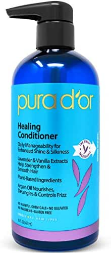 PURA D'OR Healing Conditioner for Dry, Damaged, Frizzy Hair, with Lavender and Vanilla, Argan Oil and Natural Ingredients, Sulfate Free, All Hair Types, Men & Women, 16 Fl Oz (Packaging may vary)