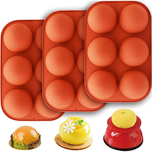 6 Holes Semi Sphere Silicone Mold, Dessert Baking Molds For Making Hot Chocolate, Cake, Jelly, Dome Mousse