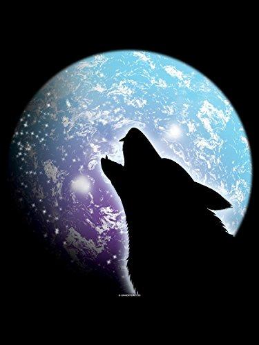 Umhängetasche Heulender Wolf schwarz 31x33cm