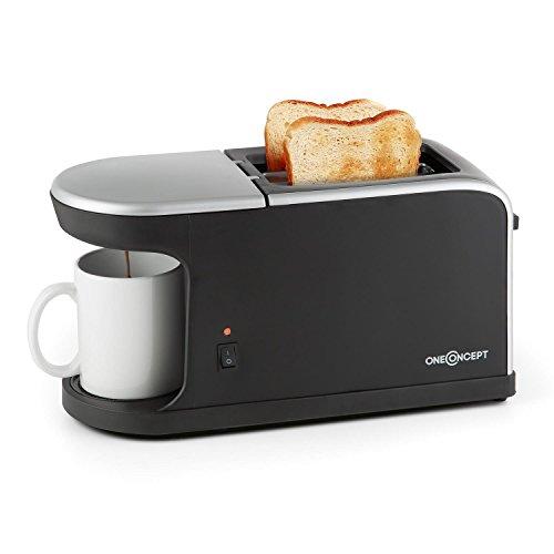 oneConcept Quickie 2-in-1 Doppelschlitz-Toaster-Mini-Kaffeemaschine Frühstücksset (1050 W Toaster, 900 W Kaffeemaschine inkl. Tasse) schwarz-silber