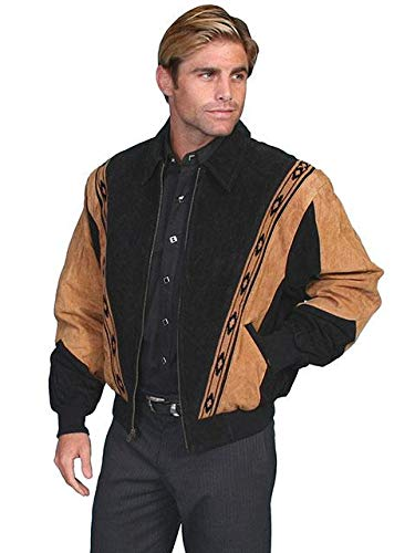 (Two-Toned Boar Suede Rodeo Jacket - M, Black W/Cafe Brown)