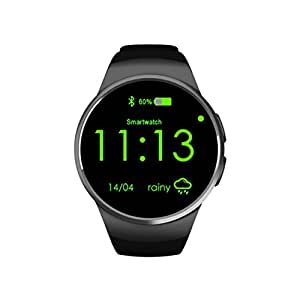 69lgmtop Smart Wristband Heart Rate Sleep Monitoring SIM TF Card Slot Smart Watch Phone (Black)