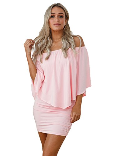 Itsmode Half Sleeve Dresses for Women Off Shoulder Strapless Ruffles Bodycon Mini Dress Club Plus Size Pink Medium - Strapless Neckline Mini